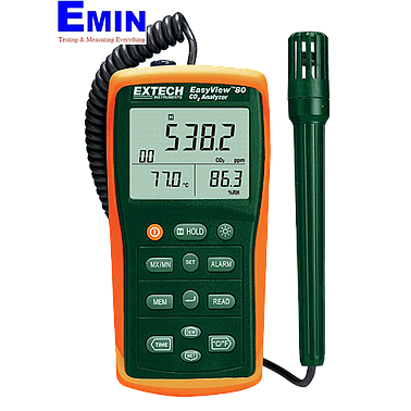 Extech EA80 EasyView™ Indoor Air Quality Meter/Datalogger (Measures C02, Temperature, Humidity, Dew Point and Wet Bulb)
